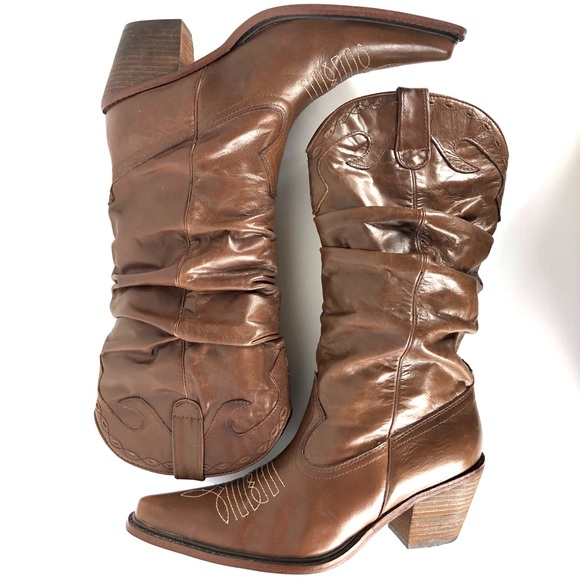 9b6512ef1b2 Steve Madden Leather Ruched Cowboy Boots